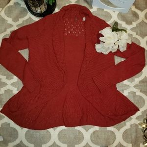 Anthro Knitted & Knotted Rust Red Cardigan